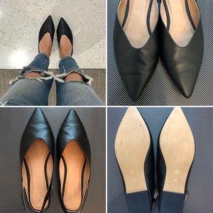 Halogen | Sadie Leather Black Pointed Slingback